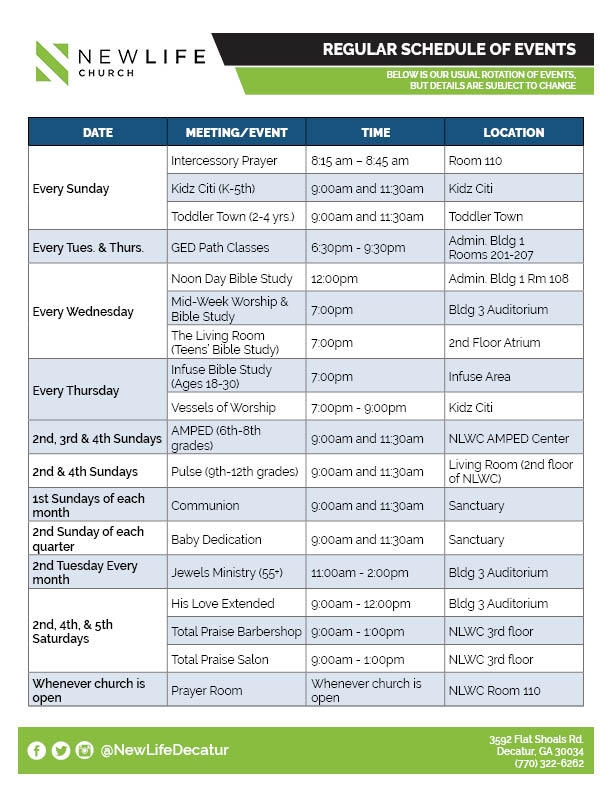 Regular Schedule of Events